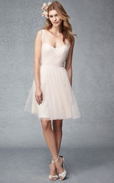 Sleeveless Tulle V-neck short Bridesmaid Dress With Pleats