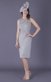 Chiffon and Lace Sleeveless Knee-length Mother of The Bride Dress