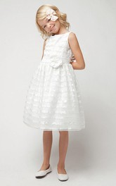 Sequined Satin Ribbon Floral 3-4-Length Flower Girl Dress