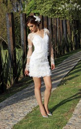 Organza Floral Embroideries Lace Short Satin Dress