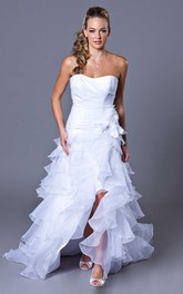 Strapless A-line Organza Wedding Dress With Ruffle And Split Front