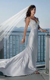 Sheath Column Spaghetti Straps V-neck Elatic Woven Satin Wedding Dress