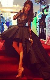 Hi-Lo Long Sleeve Lace Prom Jewel Sassy Black Dress