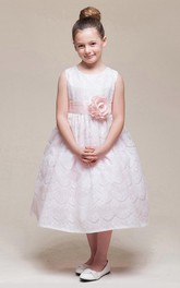 Jeweled Sash Floral 3-4-Length Lace Flower Girl Dress