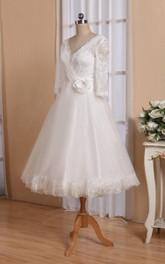 Tulle Satin Ribbon Flower Short-Sleeve V-Neckline Dress
