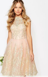 Bateau Cap-sleeve Lace short A-line Dress With Illusion