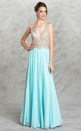 A-Line Pleated Jeweled Long V-Neck Chiffon Sleeveless Deep-V-Back Dress