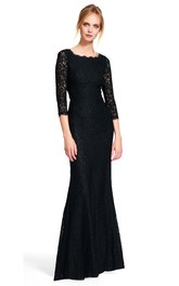 Sheath Bateau 3-4-sleeve Lace Dress With Low-V Back