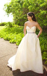 Sleeveless Satin Bow Sash Taffeta Sweetheart Gown