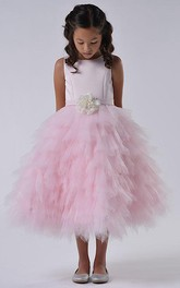 Tulle Ruffled Layered Floral Satin Flower Girl Dress