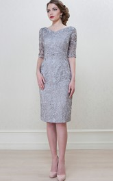 Pencil V-neck Half Sleeve Lace Dress With Split Back