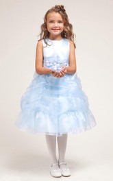 Organza Ribbon Floral 3-4-Length Flower Girl Dress