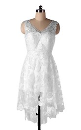 Backless Lace V-Neckline A-Line Bridal Chiffon Dress