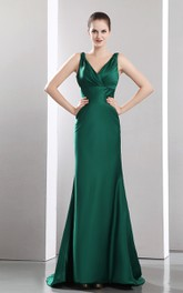 Satin Brush Train Plunged Flattering Dress