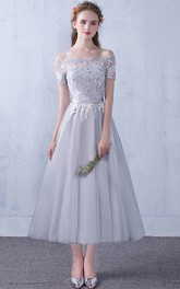 Off-the-shoulder Lace Tulle Tea-length Formal Dress With Appliques