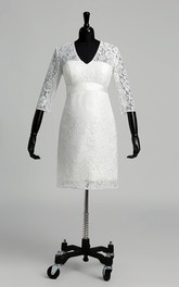 A-line Lace V-neck Knee-length 3/4 Length Sleeve Ruched Maternity Wedding Dress