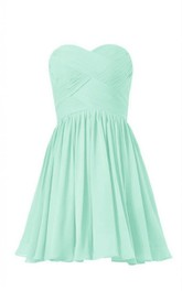 Criss-Cross Zipper Back Sleeveless Sweetheart Short Dress