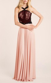 Two-tone Haltered Chiffon Floor-length Dress With bow And Lace top