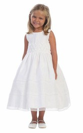 Embroidered Tiered Tea-Length Organza Flower Girl Dress