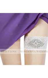 European And American Wide Beaded Lace Elastic Bridal Garter Within 16-23inch
