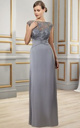 Bateau-Neckline Formal Appliqued Cap-Sleeve Chiffon Dress