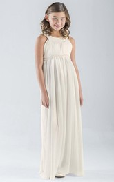 Empire Chiffon Pleated Floor-Length Sleeveless Flower Girl Dress