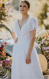 Bohemian Short Sleeve V-neck Lace A Line Floor-length Wedding Dress with Ruffles