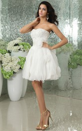 Short Satin Ribbon Flowers Sleeveless Sweetheart Dress