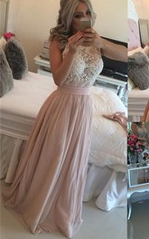 Sleeveless Long Chiffon Evening Scoop-Neck Glamorous Pearls Dress