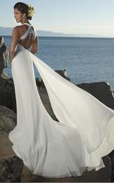V-Neckline Beach High-Waist Column Bridal Chiffon Dress