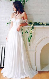 Off-the-shoulder Chiffon Lace Cap Short Sleeve Wedding Gown