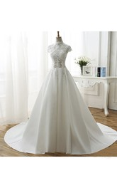 High Neck Illusion Ball Gown Wedding Dress With Appliques And Beadings