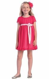 Chiffon Cap-Sleeve Short Satin Flower Girl Dress