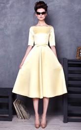 Off-the-shoulder Half Sleeve Satin Tea-length Dress