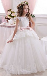 Ball Gown Floor-length High Neck Sleeveless Tulle Dress with Bow