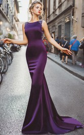 Mermaid Court Train Bateau Sleeveless Jersey Beading Drapping Illusion Dress