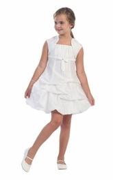 Ruched Layers Taffeta Jeweled Midi Lace Flower Girl Dress