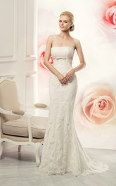 Sleeveless Appliqued Long Sheath Lace Gown