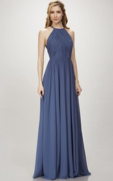 Jewel-Neck Sleeveless Chiffon Dress With Ruching