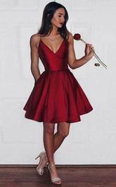 Spaghetti V-neck Satin Sleeveless Short A Line Homecoming Dress with Pleats and Pockets