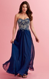 Sweetheart Chiffon central-ruched Prom Dress With Beaded top
