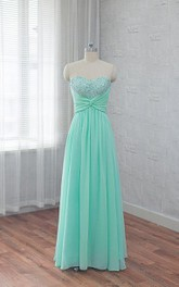 Long Sequined Ruched Sleeveless Sweetheart Chiffon Floor-Length Dress