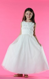 Princess Floral Bodice Tulle Scoop-Neckline Flower Girl Dress