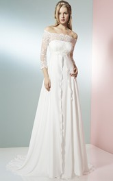 Off-the-shoulder 3-4-sleeve Empire A-line Wedding Dress With Lace