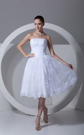 3-4-Length Ruched A-Line Strapless Lace Dress