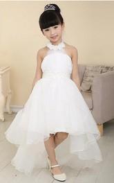 High-Low Tulle Halter Sleeveless Sash Bow Flower Girl Dress