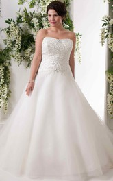Strapless Tulle Ball Gown plus size Dress With Beaded bodice And Corset Back