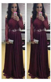 Evening Burgundy Lace Appliqued Crystal Long-Sleeve Stunning Dress