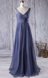 Plunged Sleeveless Criss-cross A-line Chiffon Bridesmaid Dress With Low-V Back
