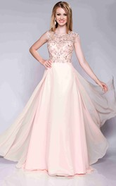 Cap Sleeve A-Line Chiffon Bateau Neck Prom Dress With Keyhole Back